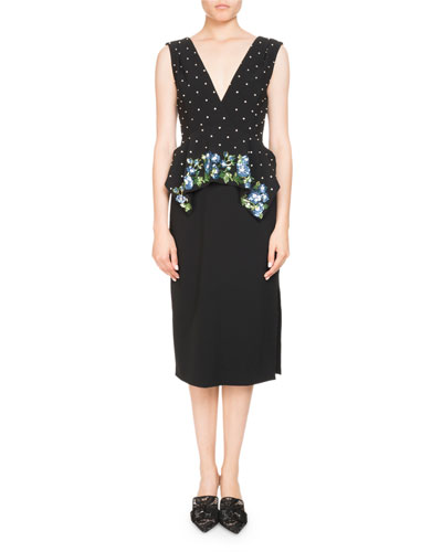 Noane Sleeveless Peplum Crepe Cocktail Dress w/ Embellished Top