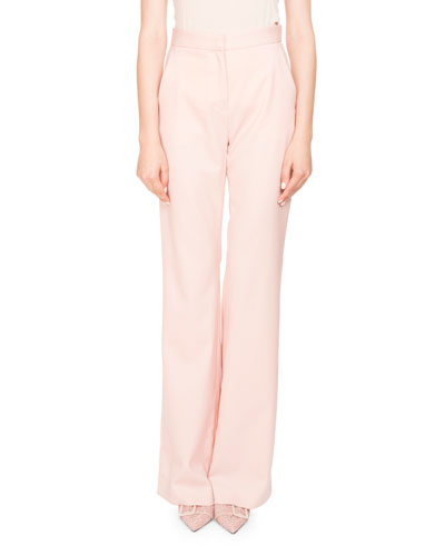 Milio High-Waist Wide-Leg Wool Pants w/ Satin Trim