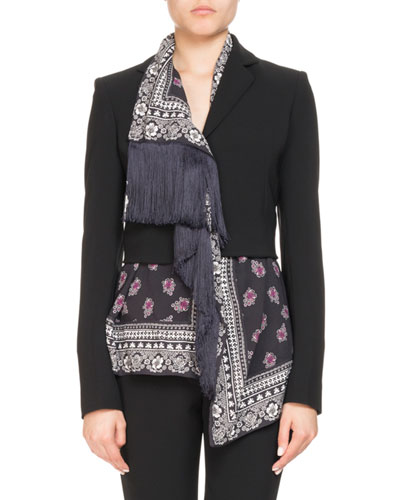 Mixed-Media Crepe Bandana-Print Jacket w/ Fringe