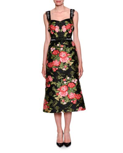 Sweetheart-Neck Sleeveless Rose-Jacquard Midi Cocktail Dress