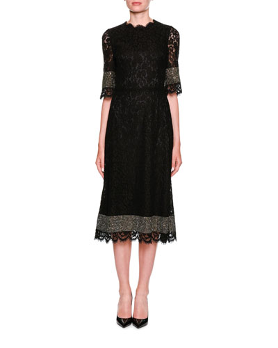 High-Neck Short-Sleeve Heavy Lace Cocktail Dress w/ Crystals