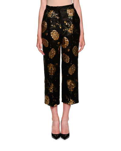Jacquard Straight-Leg Cropped Pants