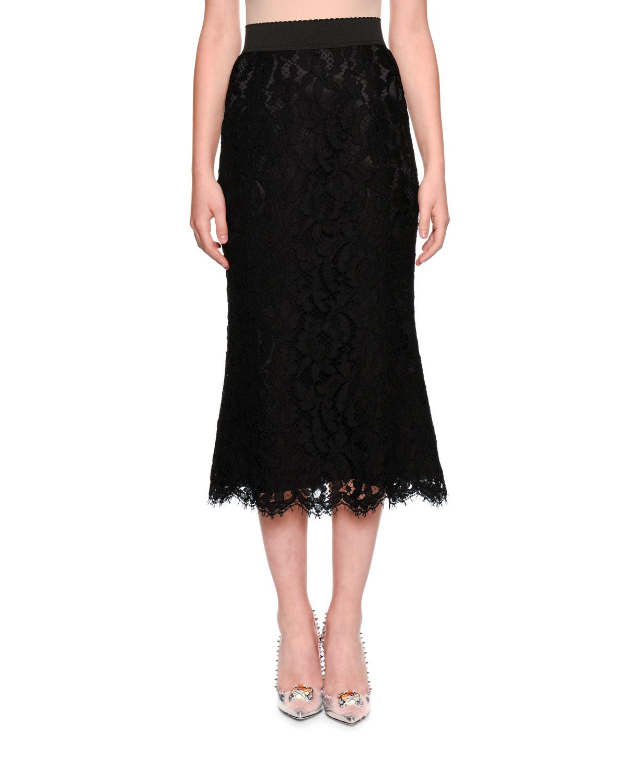 Elastic Waistband A-line Tea-Length Lace Skirt