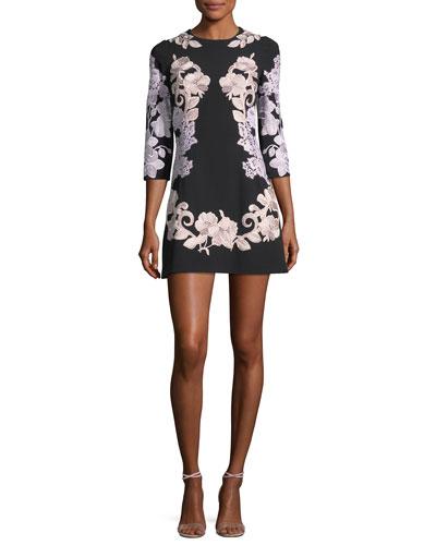 Jewel-Neck A-Line Crepe Dress with Lace Applique