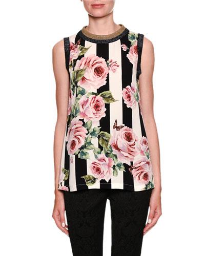 Sleeveless Stripes & Rose Print Silk Blouse