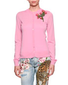 Crewneck Button-Front Cashmere Cardigan w/ Rose Patch
