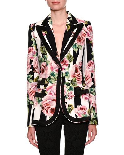 Single-Breasted Stripes & Rose-Print Cady Blazer
