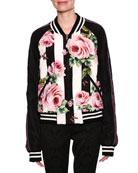 Striped Rose-Print Reversible Bomber Jacket