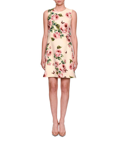 Sleeveless A-Line Rose-Print Wool Dress
