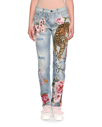 Leopard & Rose Painted Mid-Rise Straight-Leg Jeans