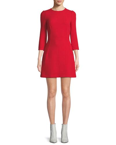 3/4-Sleeve A-Line Button-Back Wool Dress