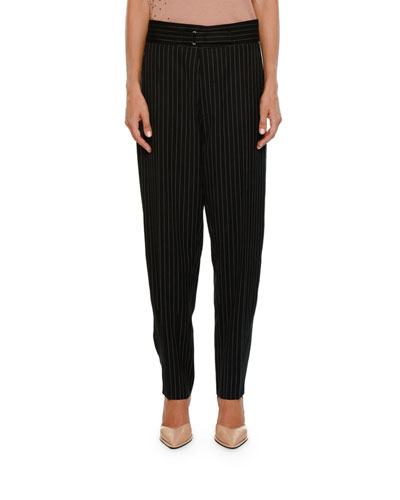 Pinstripe Dropped-Inseam Pegged-Leg Pants