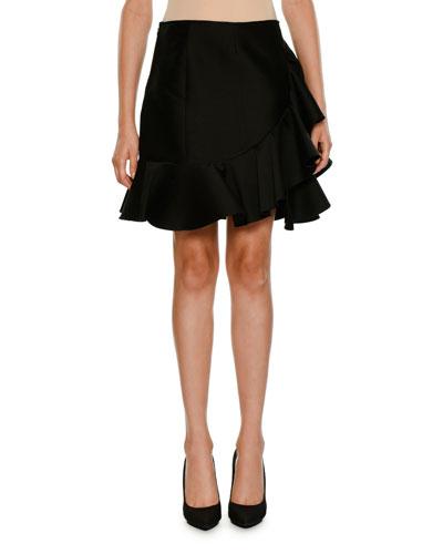Side-Ruffle Peplum-Hem Mini Skirt