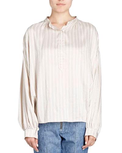 Ilda Striped Silk Satin Blouson Tunic