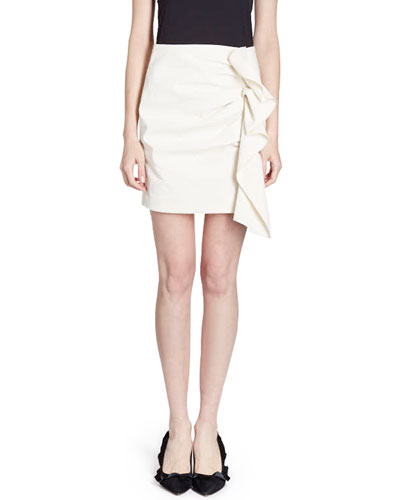 Lefly Side-Frill Cotton Mini Skirt