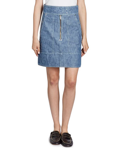 Natalia High-Waist Cargo Pocket Chambray Skirt