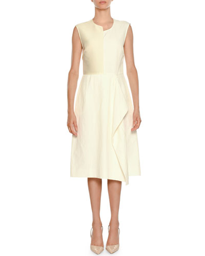 Asymmetric Sleeveless Sheath Dress with Ruffle Detail