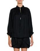 Collared Long-Sleeve Stripe Silk Gathered Tunic Blouse