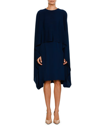 Crewneck Cape-Front Belted Short Dress