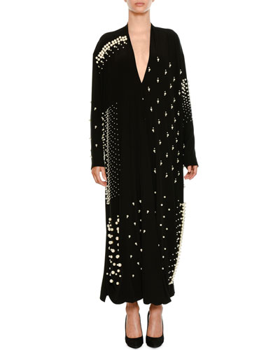 Plunging Long-Sleeve Cocktail Dress