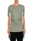 Crewneck Short-Sleeve Heathered T-Shirt w/ Love Side Panel