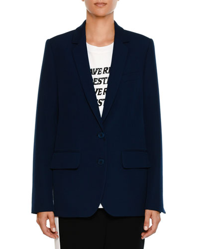 Two-Button Notched-Collar Tailored Wool Jacket