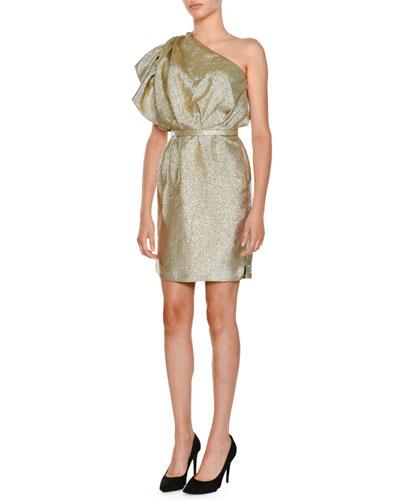 One-Shoulder Lamé Cocktail Dress w/ Ruffled Detail