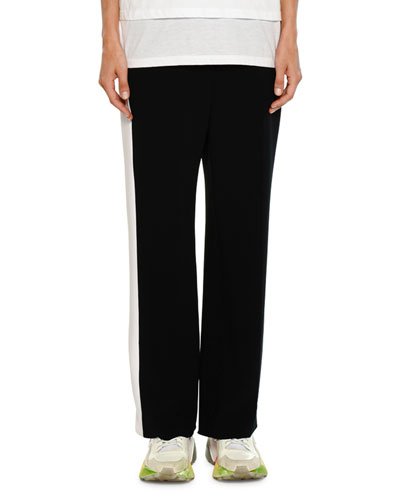 Wide-Leg Side-Stripe Stretch-Cady Pants