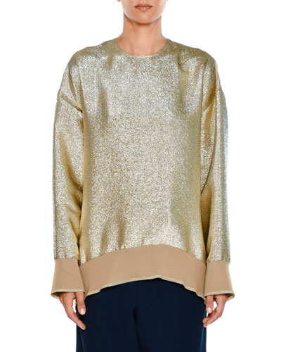 Crewneck Long-Sleeve Lamé Sweatshirt