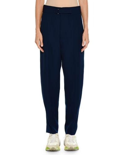 Tab-Front Pegged-Leg Wool Jogger Pants