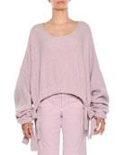 Scoop-Neck Cropped Chunky Ribbed Drawstring-Hem Sweater