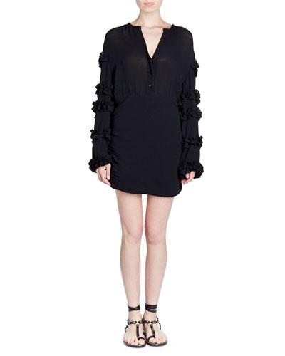 Celest Button-Front Ruffled-Sleeve Cotton Gauze Short Dress