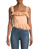 Tegan Ruffled Bustier Tank with Asymmetric Hem