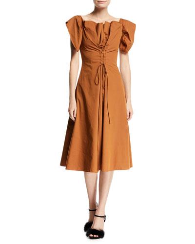 Dawn Ruffled Lace-Front A-Line Midi Dress