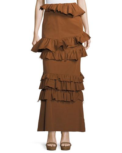 Long Tiered Ruffled Skirt