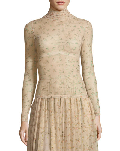 Tracey Turtleneck Sheer Floral-Print Top
