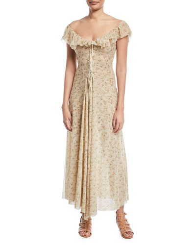 Dora Off-the-Shoulder Mini-Floral Lace-Up Long Dress