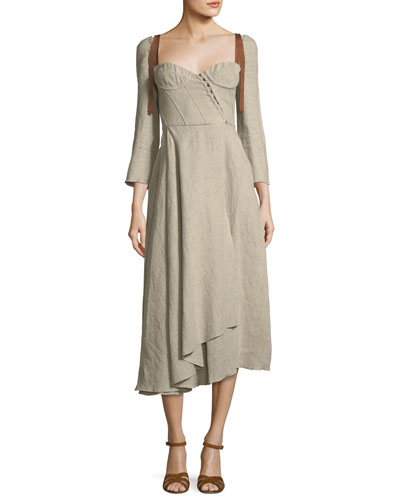 Devin Corseted Long-Sleeve Linen Dress w/ Full Skirt