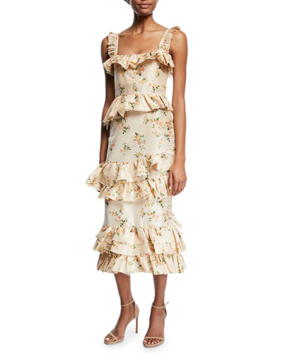 Daria Floral-Print Tiered Taffeta Corset Midi Dress