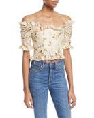 Off-the-Shoulder Mini Floral-Print Taffeta Corset Top