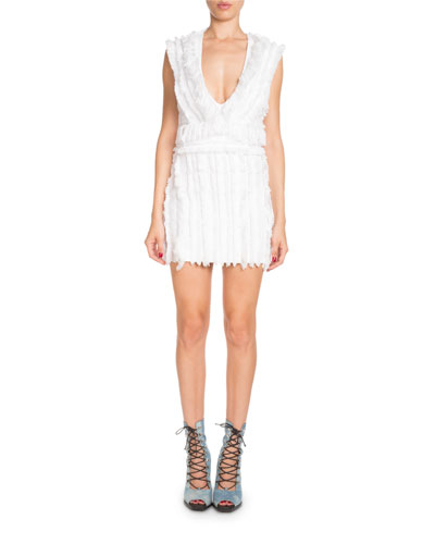 Sleeveless Deep-V Short Fringed Cotton Dress