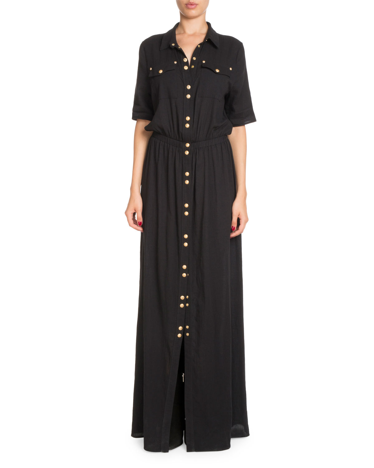 Snap-Front Cotton Shirtdress with Golden Buttons