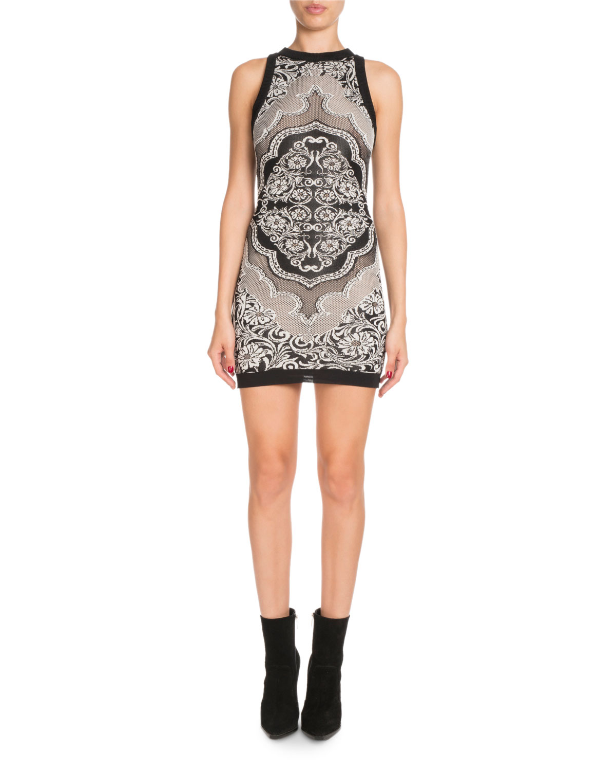 Sleeveless Baroque Jacquard Short Cocktail Dress