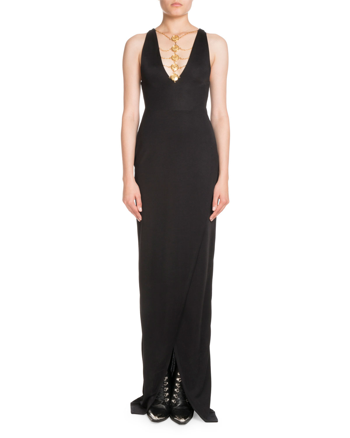 Sleeveless Coin-Neck Front-Slit Evening Gown