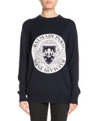 Crewneck Long-Sleeve Coin Logo Jacquard Sweater