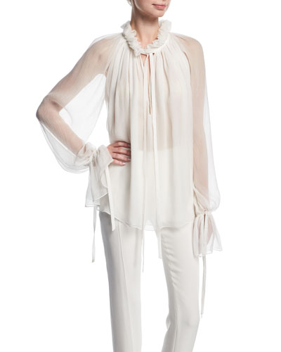 Long-Sleeve Tie-Neck Sheer Silk Blouse