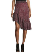 Paisley-Print Silk Asymmetric Skirt