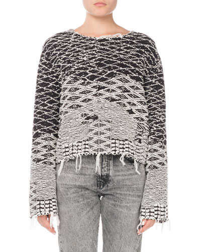 Raw-Edge Pullover Sweater