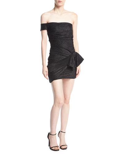 Off-the-Shoulder Shirred Metallic Mini Dress