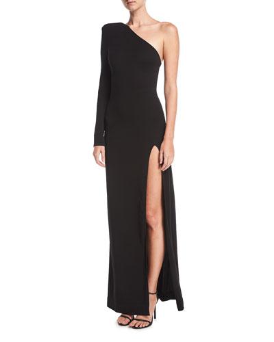One-Shoulder High-Slit Jersey Evening Gown